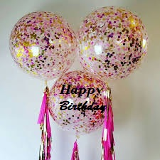 3 Bright Confetti balloons with one happy birthday print on balloon