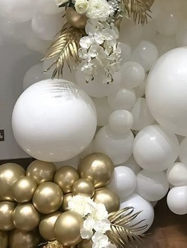 50 white gold small large air balloons with gold palm leaves white flowers