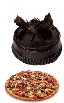 Medium Domino Veg Pizza with 1/2 Kg Chocolate Cake