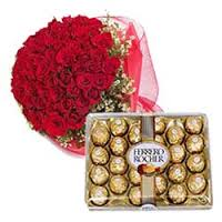Bouquet of 24 red roses with 24 chocolates